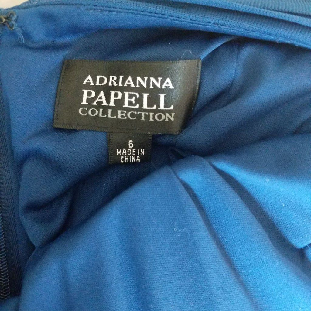Adrianna Papell Blue Size 6 Sheer V Neck Straight Dress on Queenly