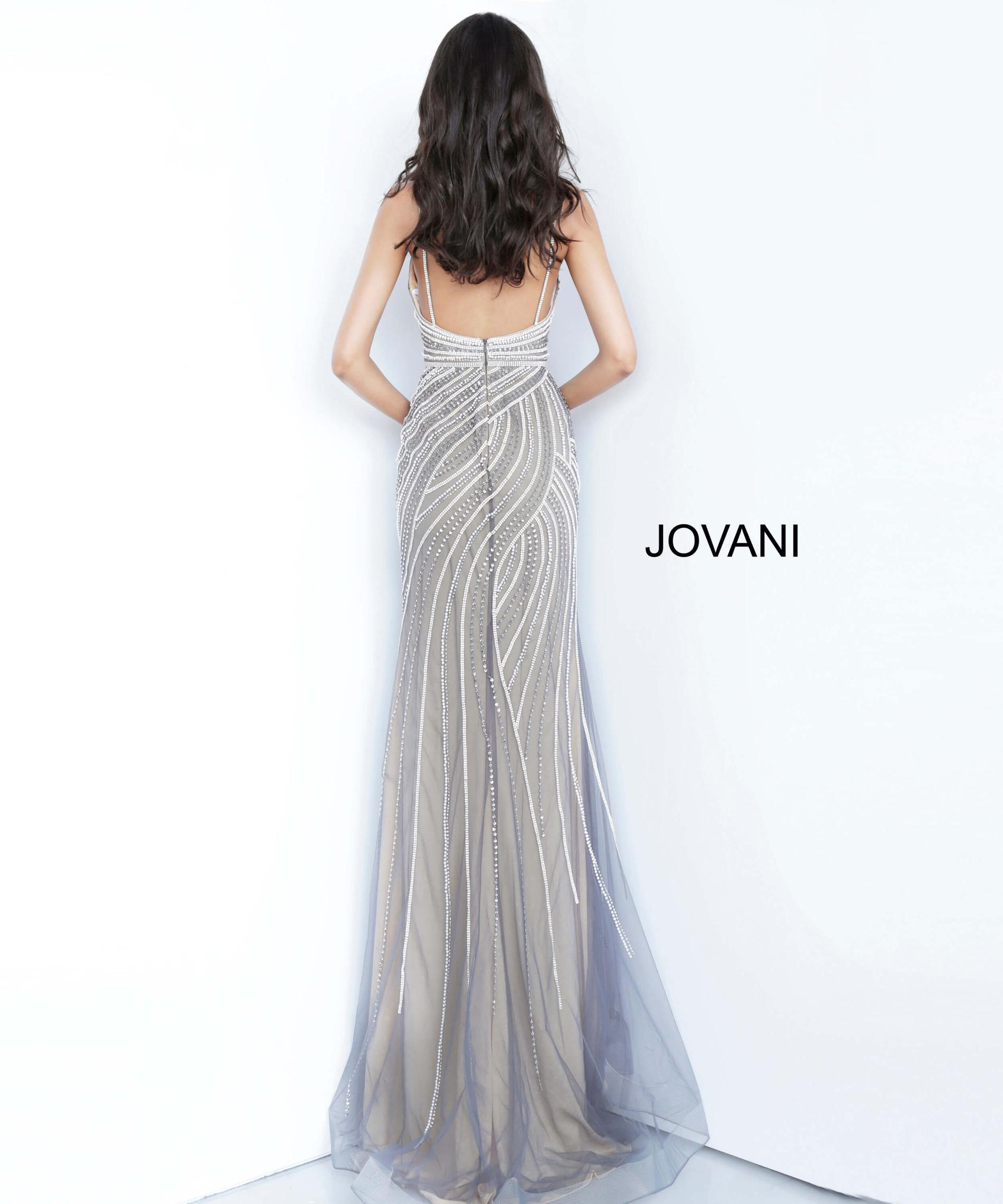 Style 02408 Jovani Silver Size 4 Sheer Pageant Straight Dress on Queenly