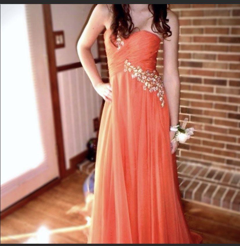 Sherri Hill Orange Size 2 Sequin One Shoulder Sweetheart Gold Train Dress on Queenly