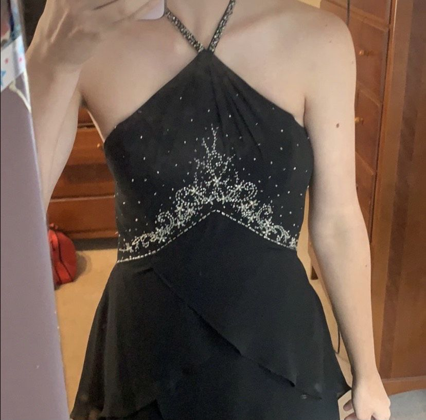 Dessy collection Black Size 2 Ruffles Sequin Spaghetti Strap Halter Straight Dress on Queenly
