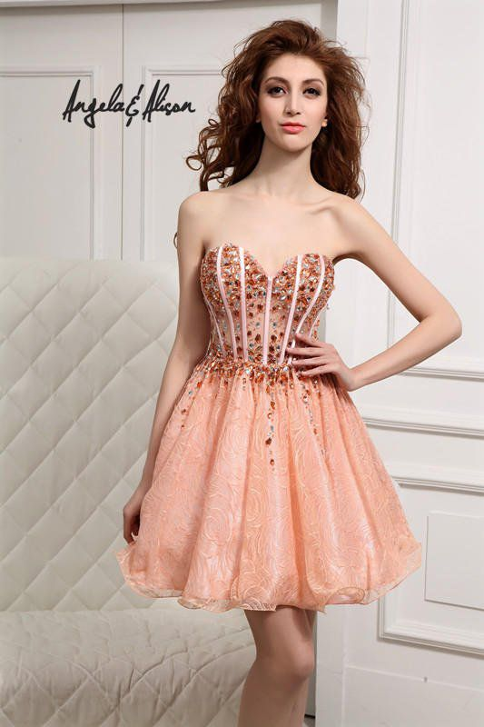 Style 31011 Angela & Alison  Orange Size 8 Corset Pattern Flare A-line Dress on Queenly