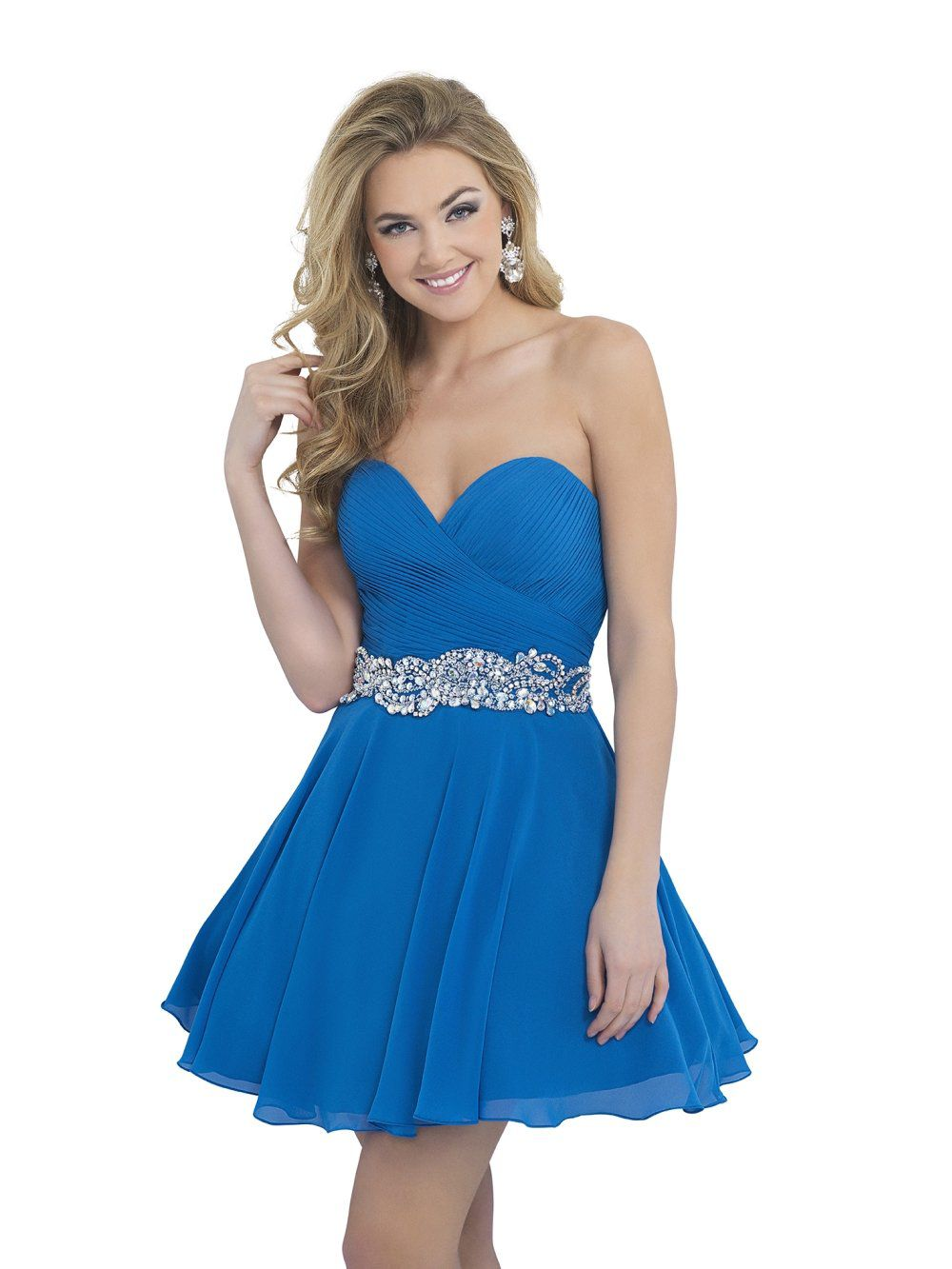 Style 10059 Blush Prom  Blue Size 12 Jewelled Plus Size Backless Flare A-line Dress on Queenly