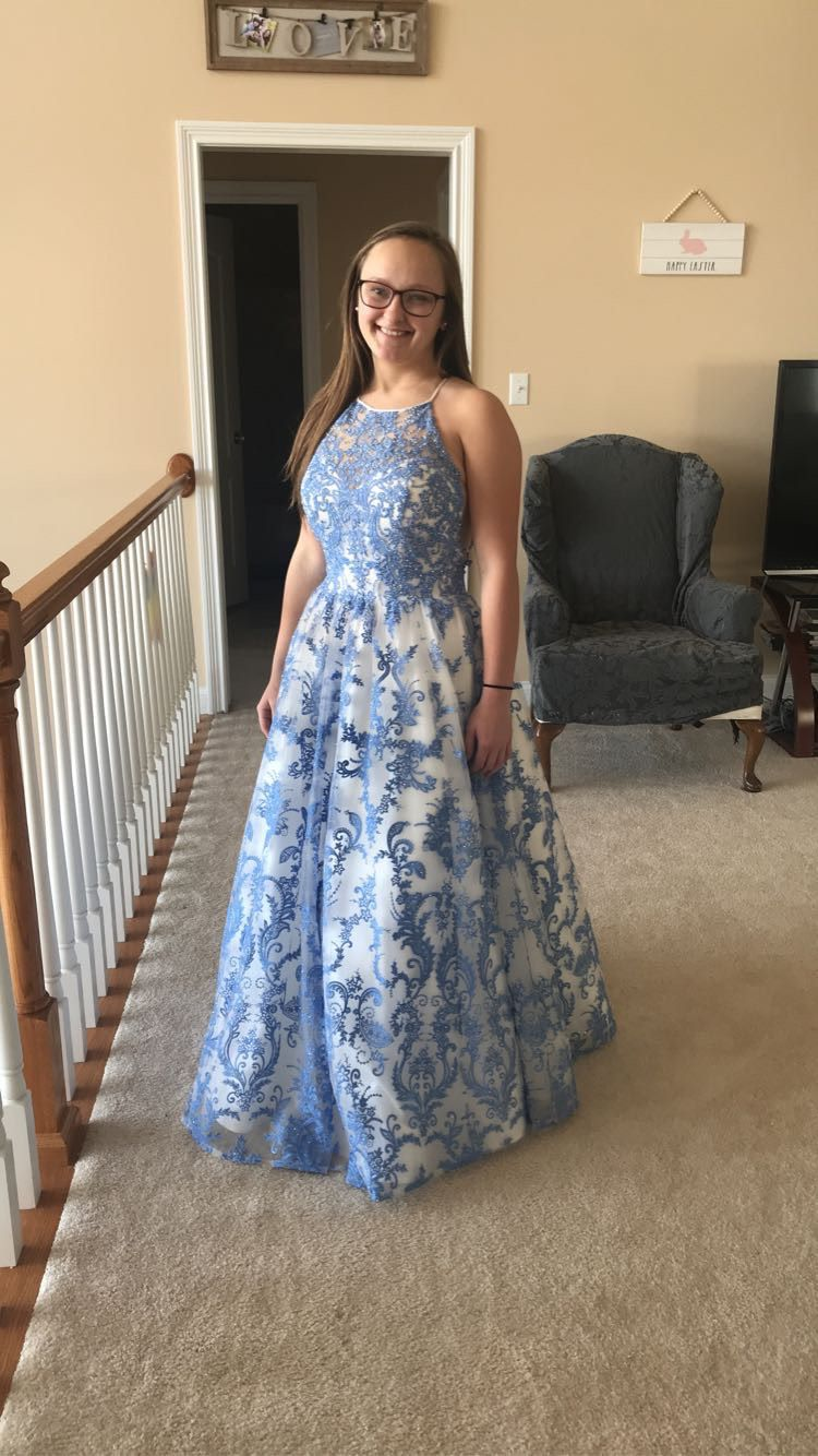 Sherri Hill Multicolor Size 8 Lace Light Blue Fitted Ball gown on Queenly