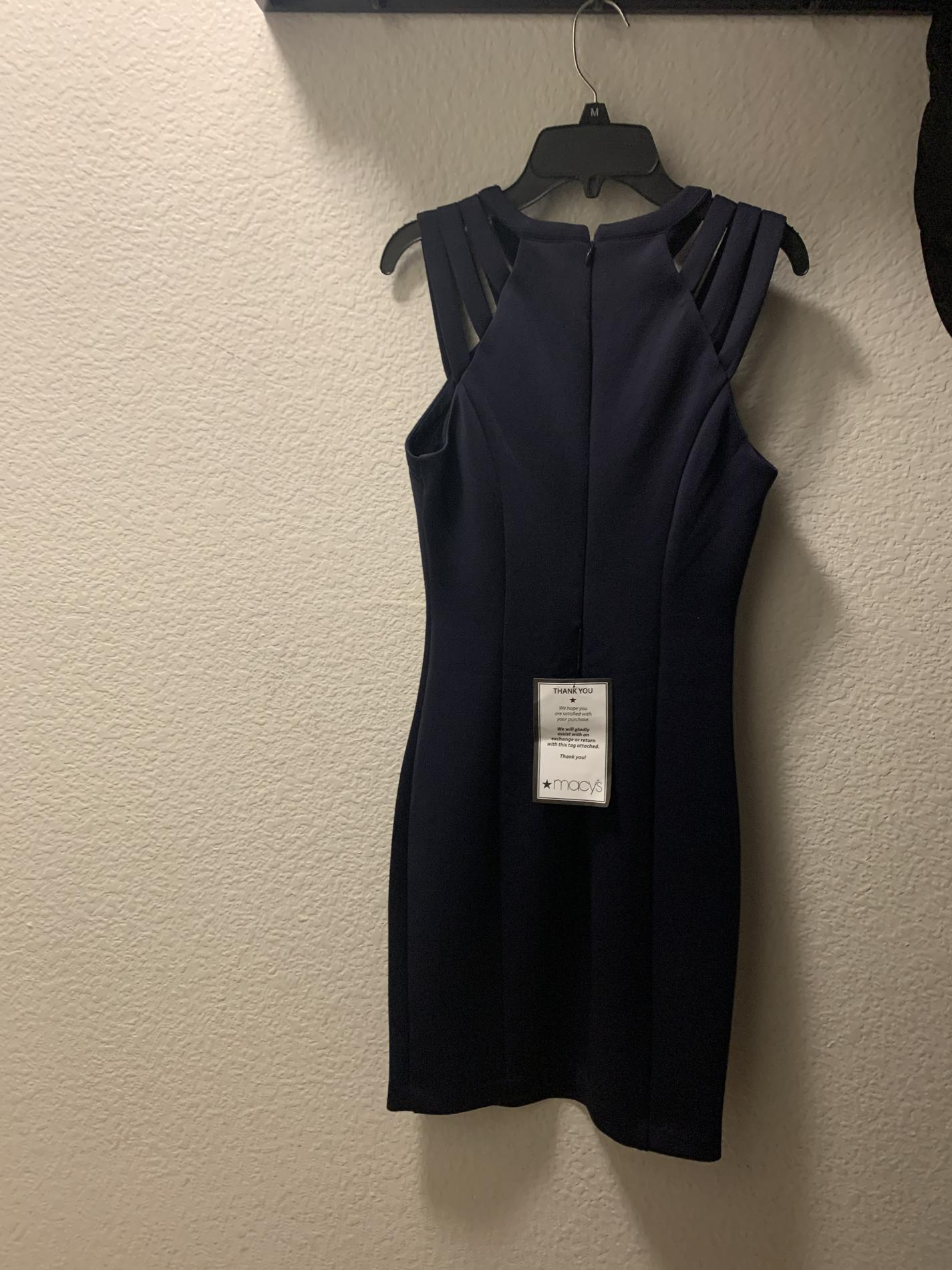 Guess Blue Size 4 Fitted Interview Short Height Boat Neck Straight Dress on Queenly