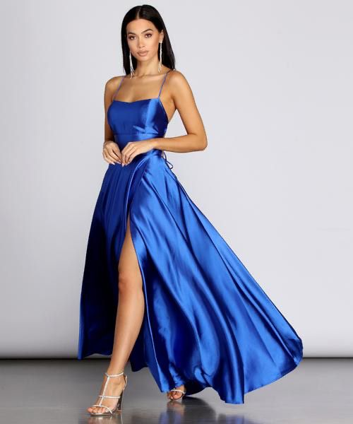 Windsor Blue Size 2 Wedding Guest Sorority Formal Side Slit Ball gown on Queenly
