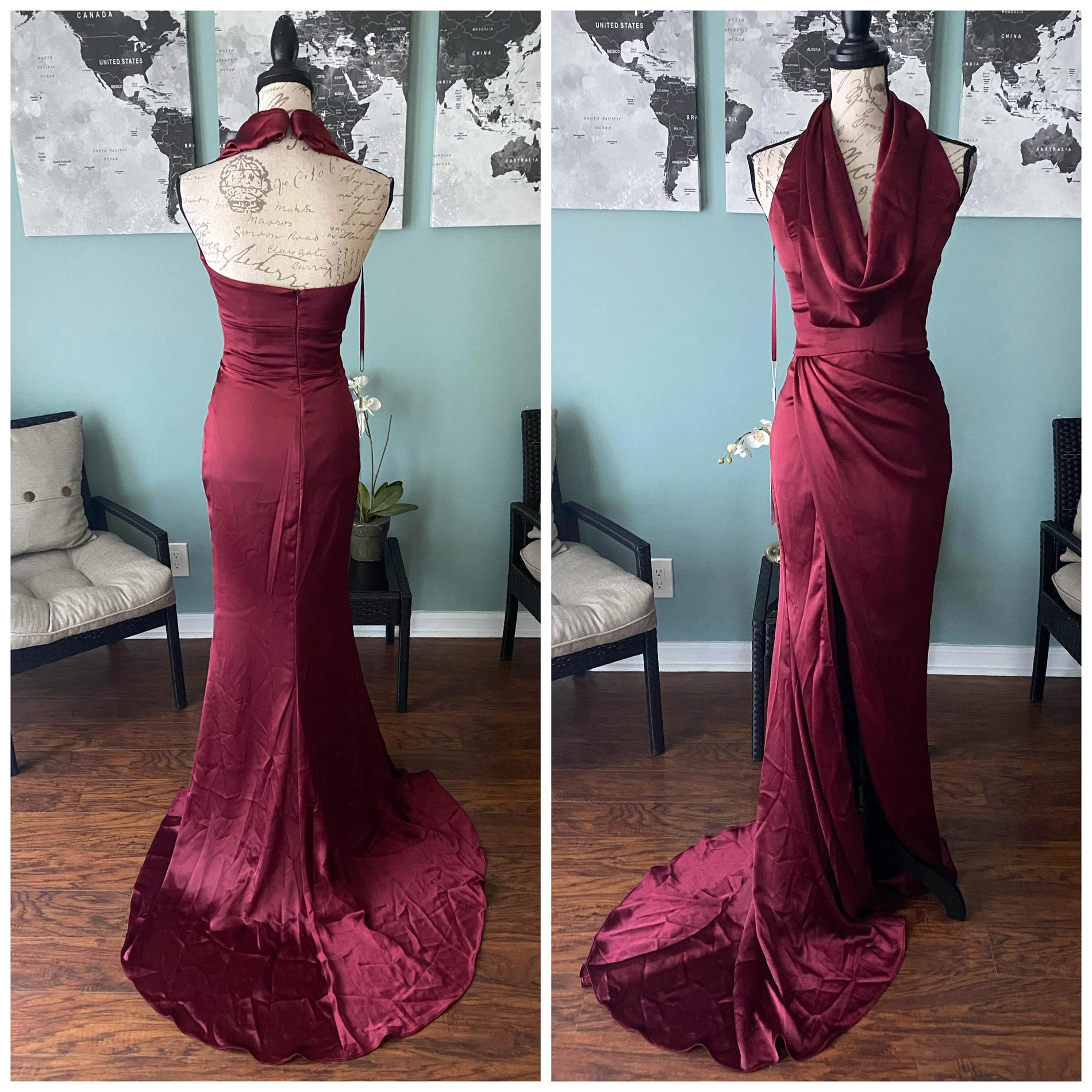 Portia & Scarlett Red Size 2 Backless Burgundy Bodycon Straight Dress on Queenly