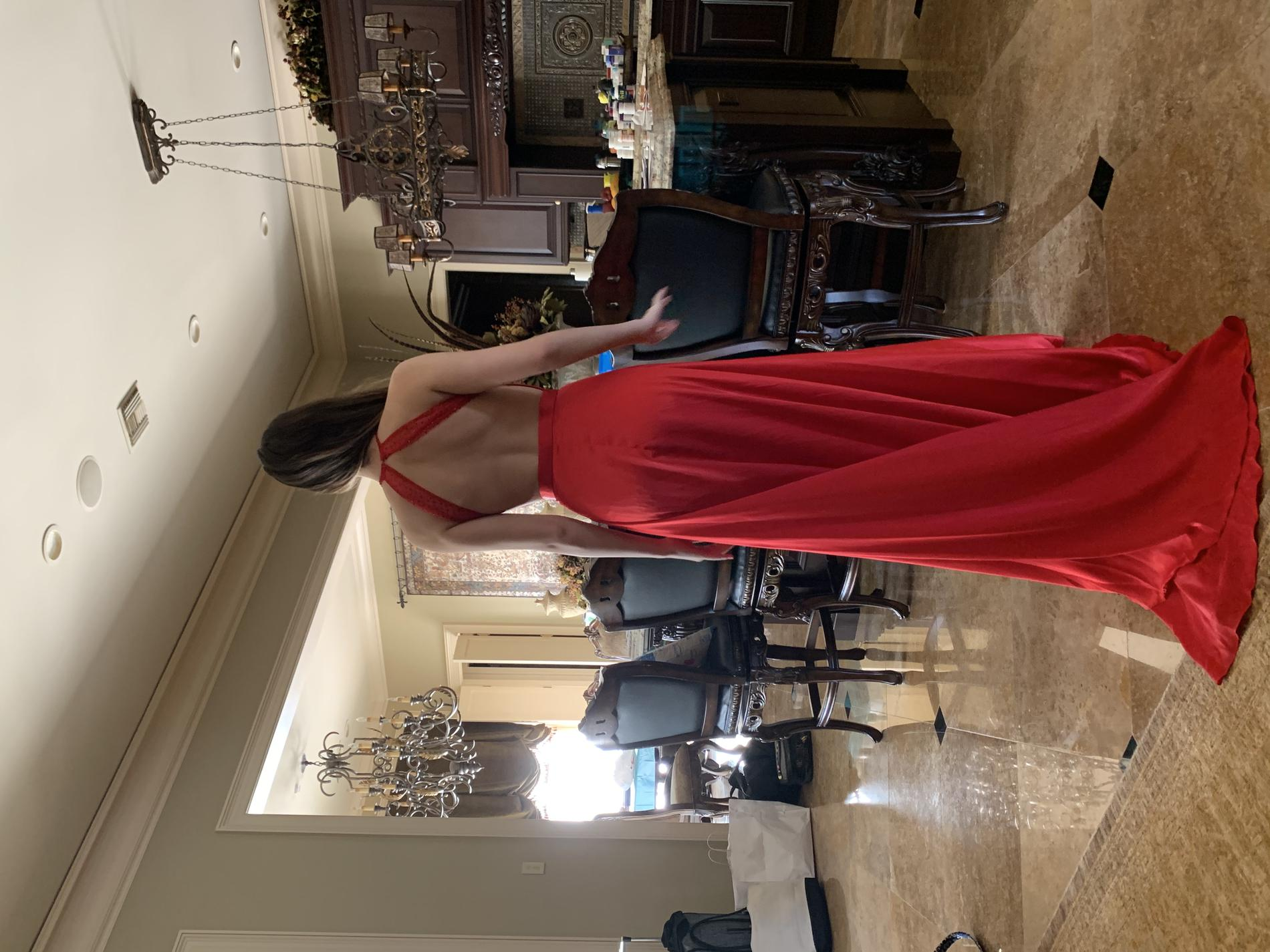 Sherri Hill Red Size 4 Sequin Train Jumpsuit Dress on Queenly