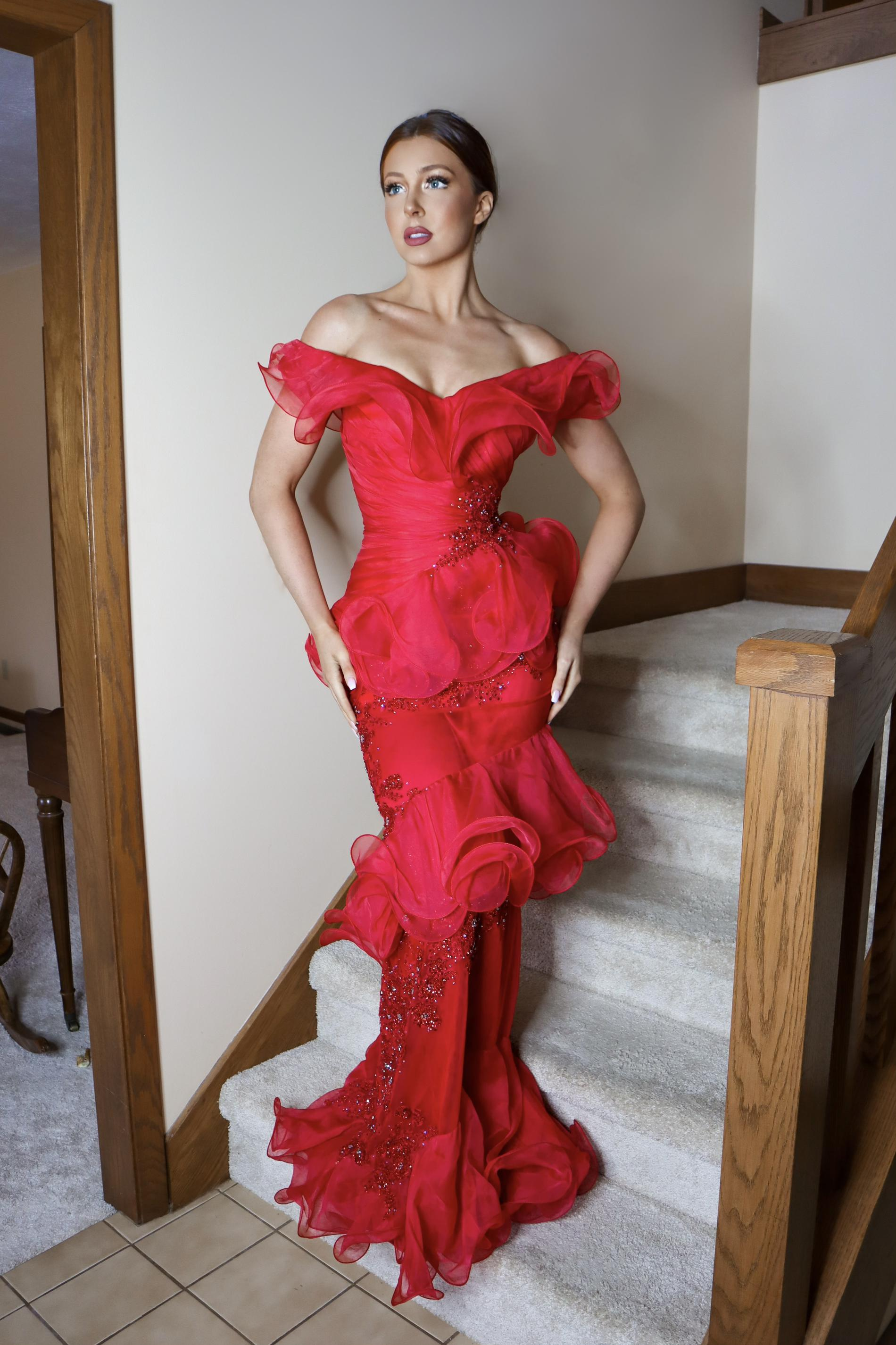 Jovani Red Size 4 Ruffles Sheer Tulle Straight Dress on Queenly