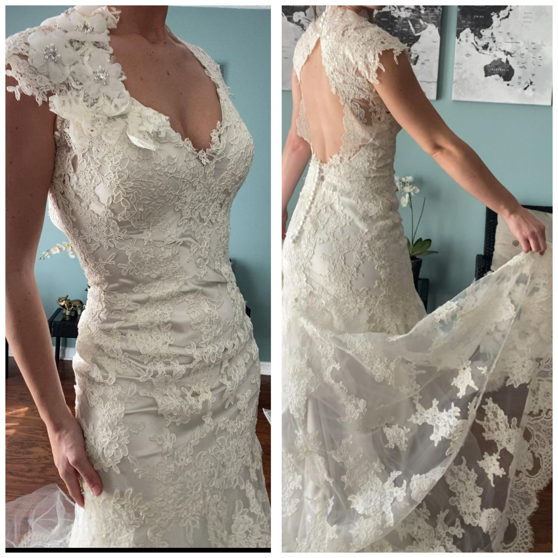 Allure Bridals White Size 2 Lace Keyhole Wedding Mermaid Dress on Queenly