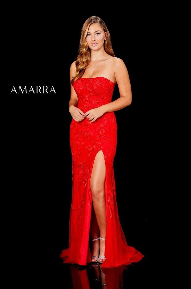 Amarra collection Red Size 6 Wedding Guest Prom Pageant Fitted Straight Dress on Queenly