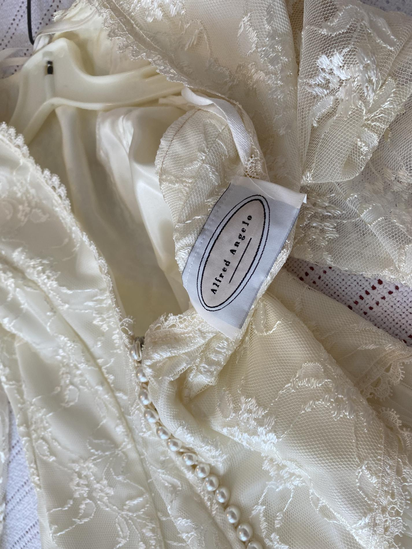 Alfred Angelo Nude Size 8 Long Sleeve Lace Wedding Straight Dress on Queenly