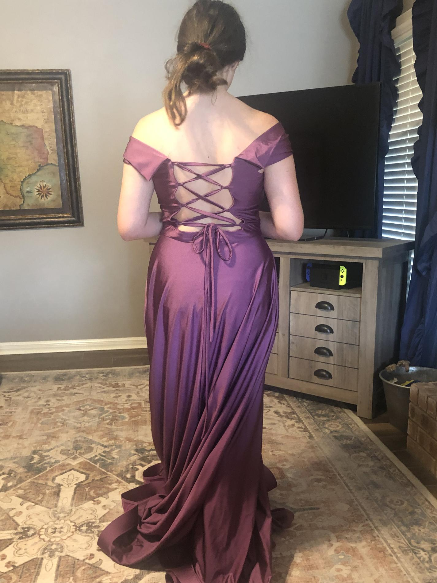 Sherri Hill Purple Size 8 Wedding Guest Pageant Side Slit Straight Dress on Queenly