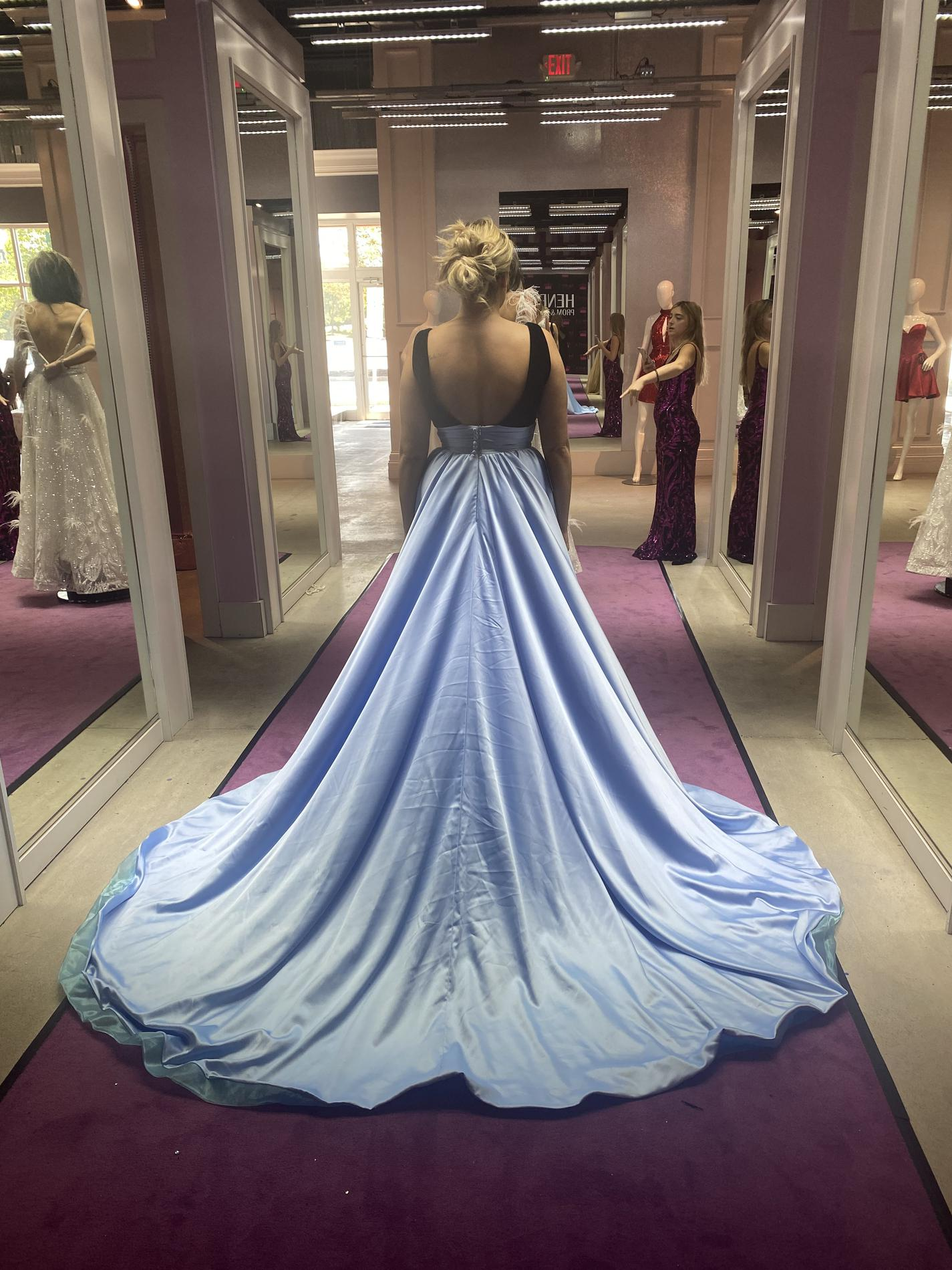 Rachel Allan Light Blue Size 10 V Neck Pageant Overskirt Train Dress on Queenly