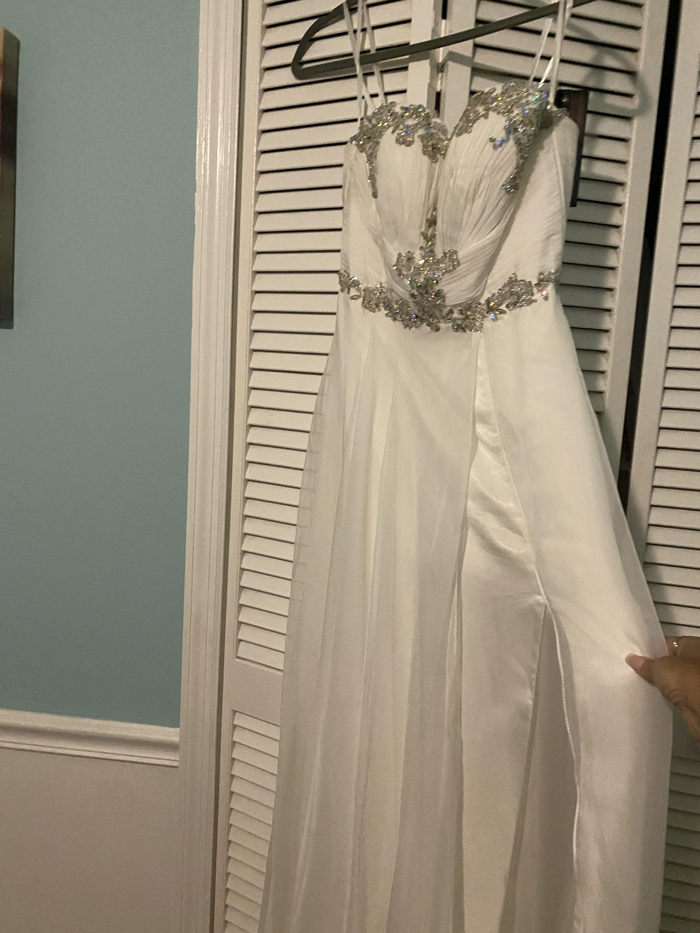 Mac Duggal White Size 8 Silver Wedding Side Slit Straight Dress on Queenly