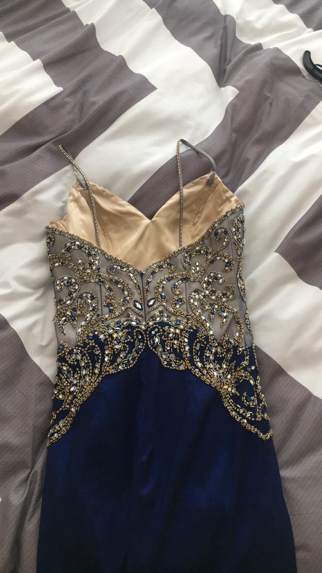 Mori Lee Royal Blue Size 4 Beaded Top Flare Mermaid Dress on Queenly