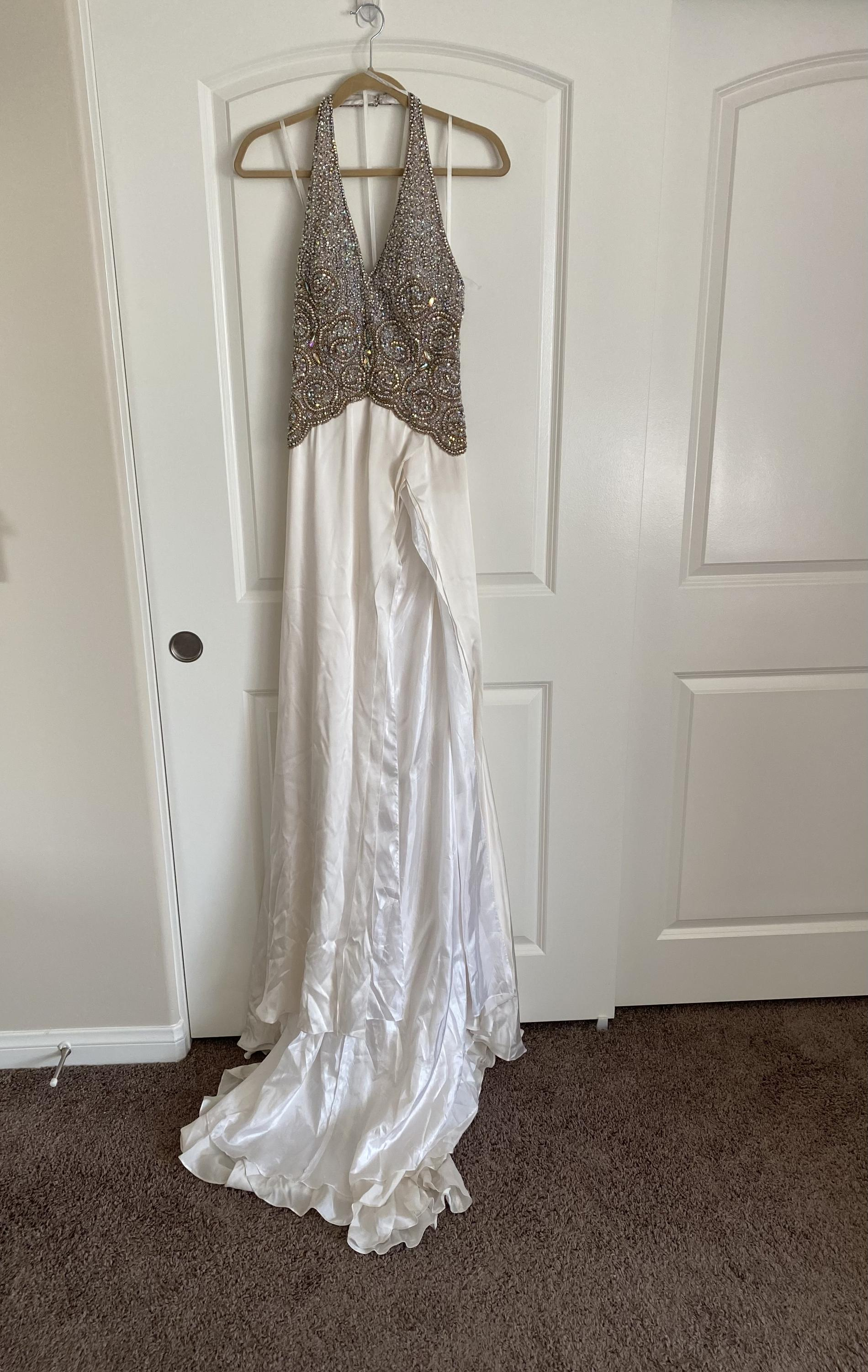 Mac Duggal Pageant Multicolor Size 6 Pageant Beaded Top Train Silk Side slit Dress on Queenly