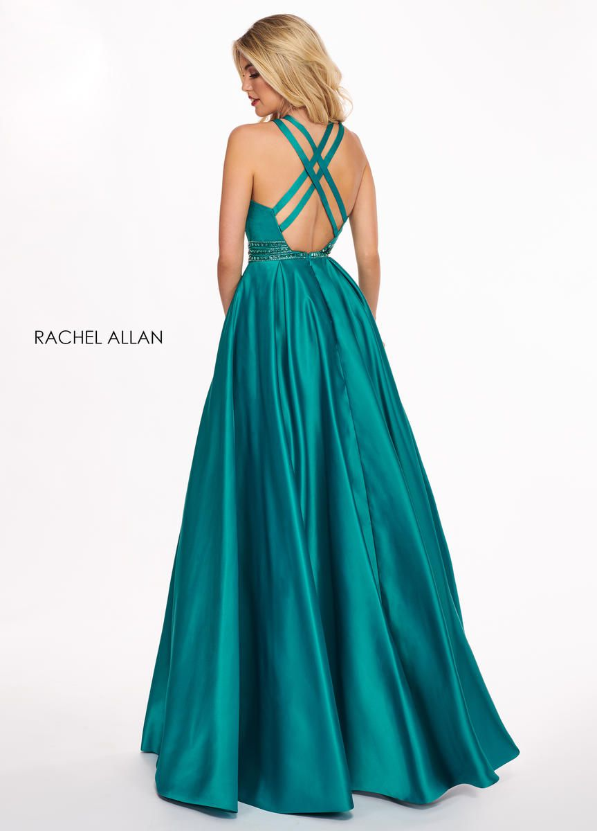 Style 6464 Rachel Allan Green Size 16 A-line Dress on Queenly