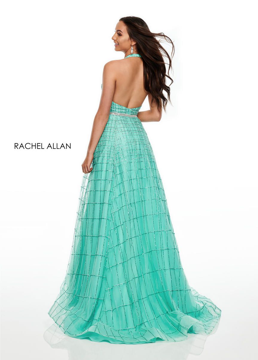 Style 7082 Rachel Allan Green Size 6 Tulle Turquoise A-line Dress on Queenly
