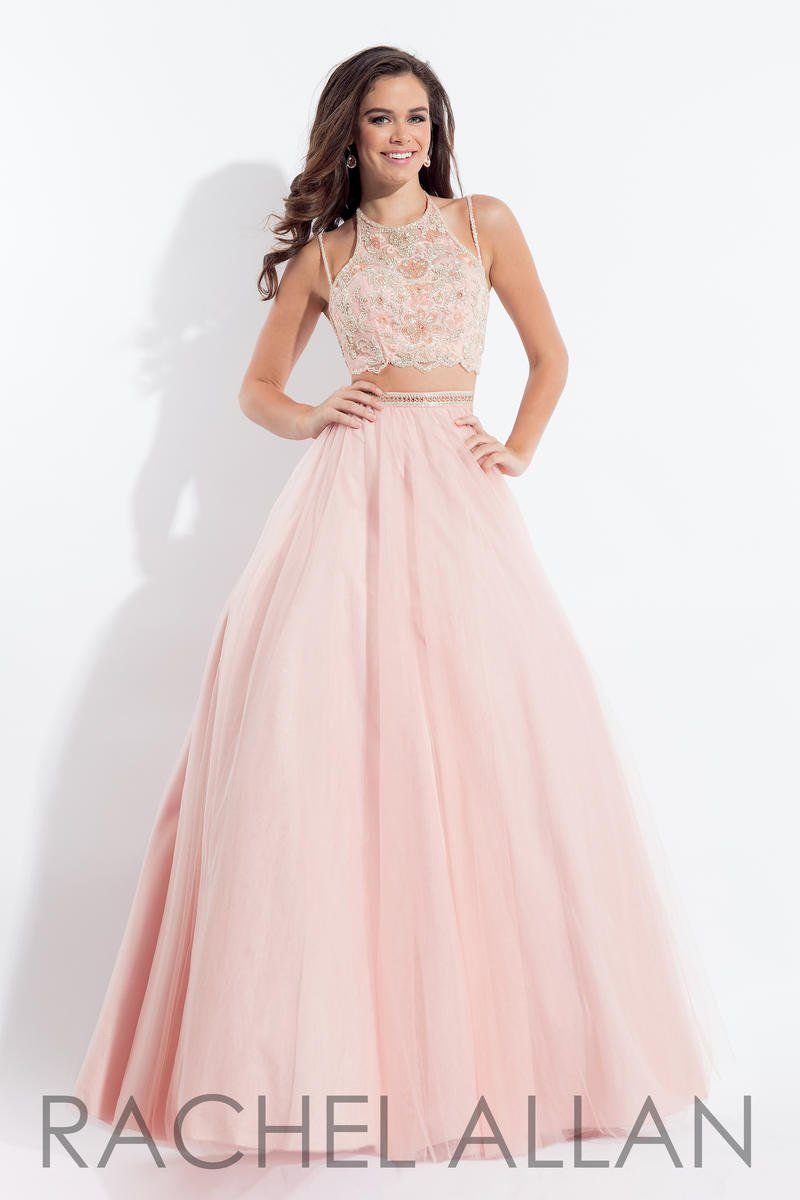 Style 6120 Rachel Allan Blush Size 0 Embroidery Pageant Spaghetti Strap Pink Ball gown on Queenly
