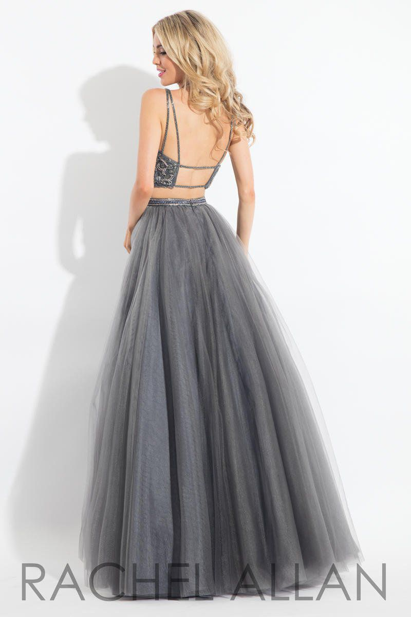 Style 6120 Rachel Allan Silver Size 12 Plus Size Embroidery Pageant Spaghetti Strap Ball gown on Queenly