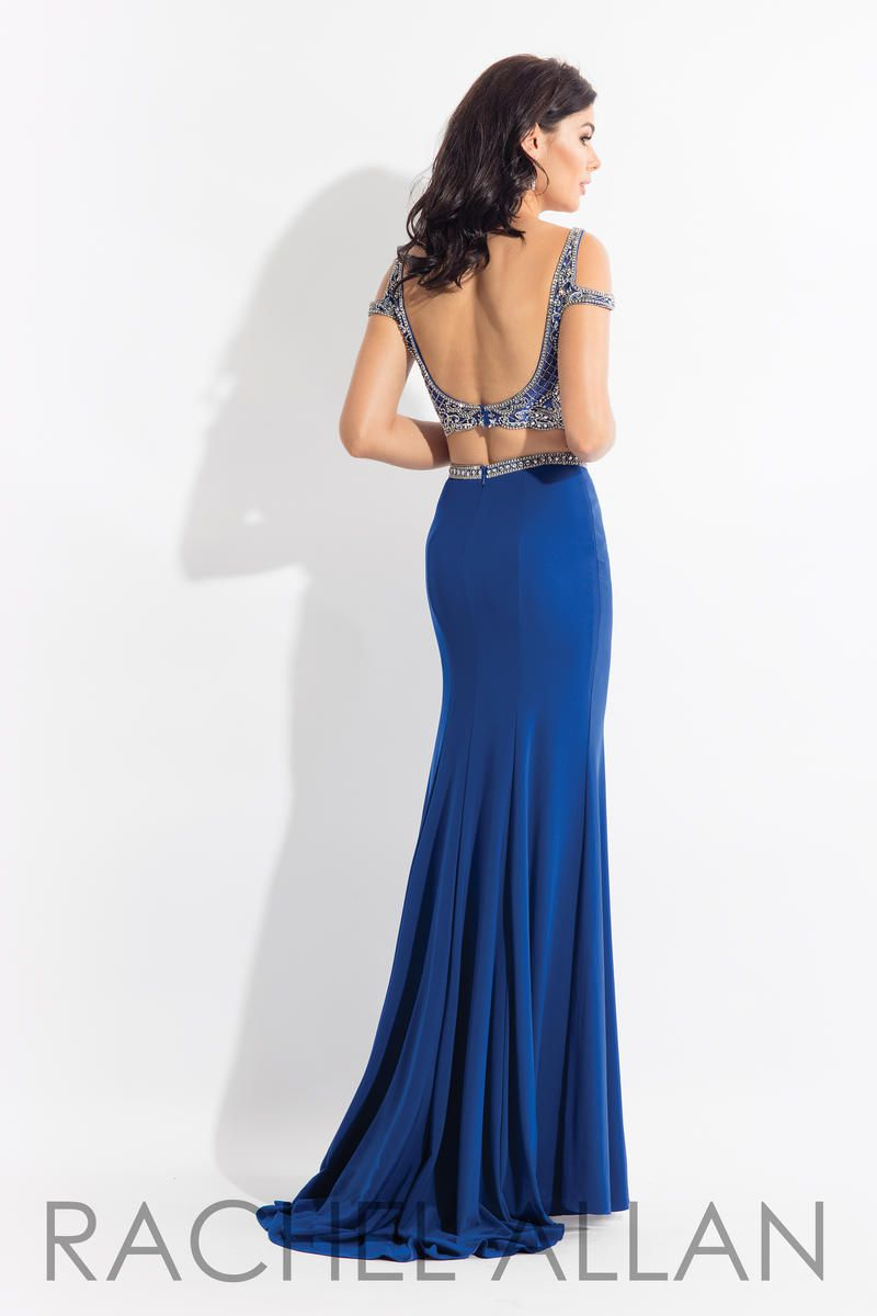 Style 6058 Rachel Allan Blue Size 10 Jewelled Embroidery Pageant Backless Side slit Dress on Queenly