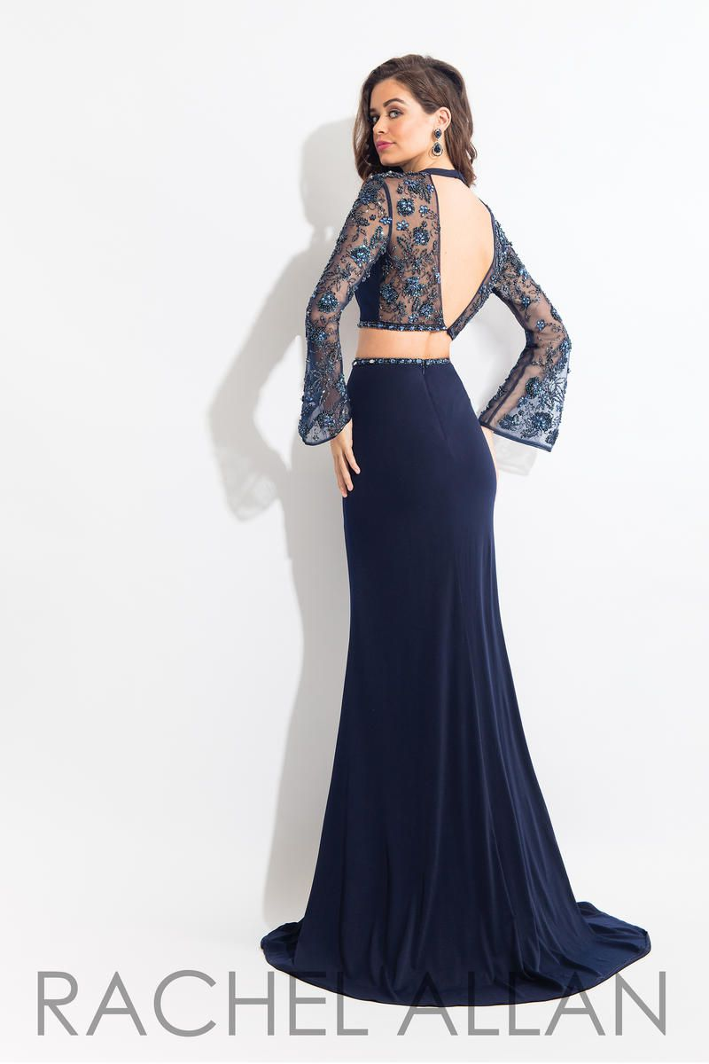 Style 6053 Rachel Allan Blue Size 0 Embroidery Pageant Backless Sheer Mermaid Dress on Queenly