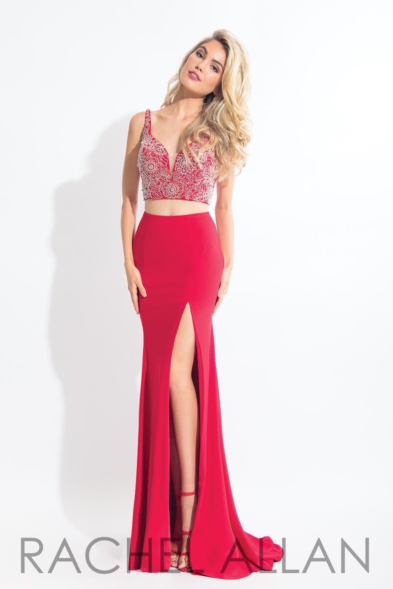 Style 6100 Rachel Allan Red Size 6 Two Piece Embroidery Jersey Side slit Dress on Queenly