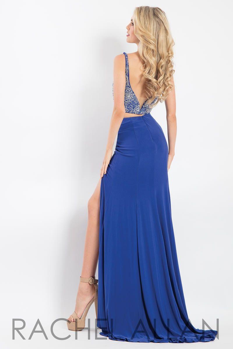 Style 6100 Rachel Allan Royal Blue Size 10 Pageant Jersey Side slit Dress on Queenly