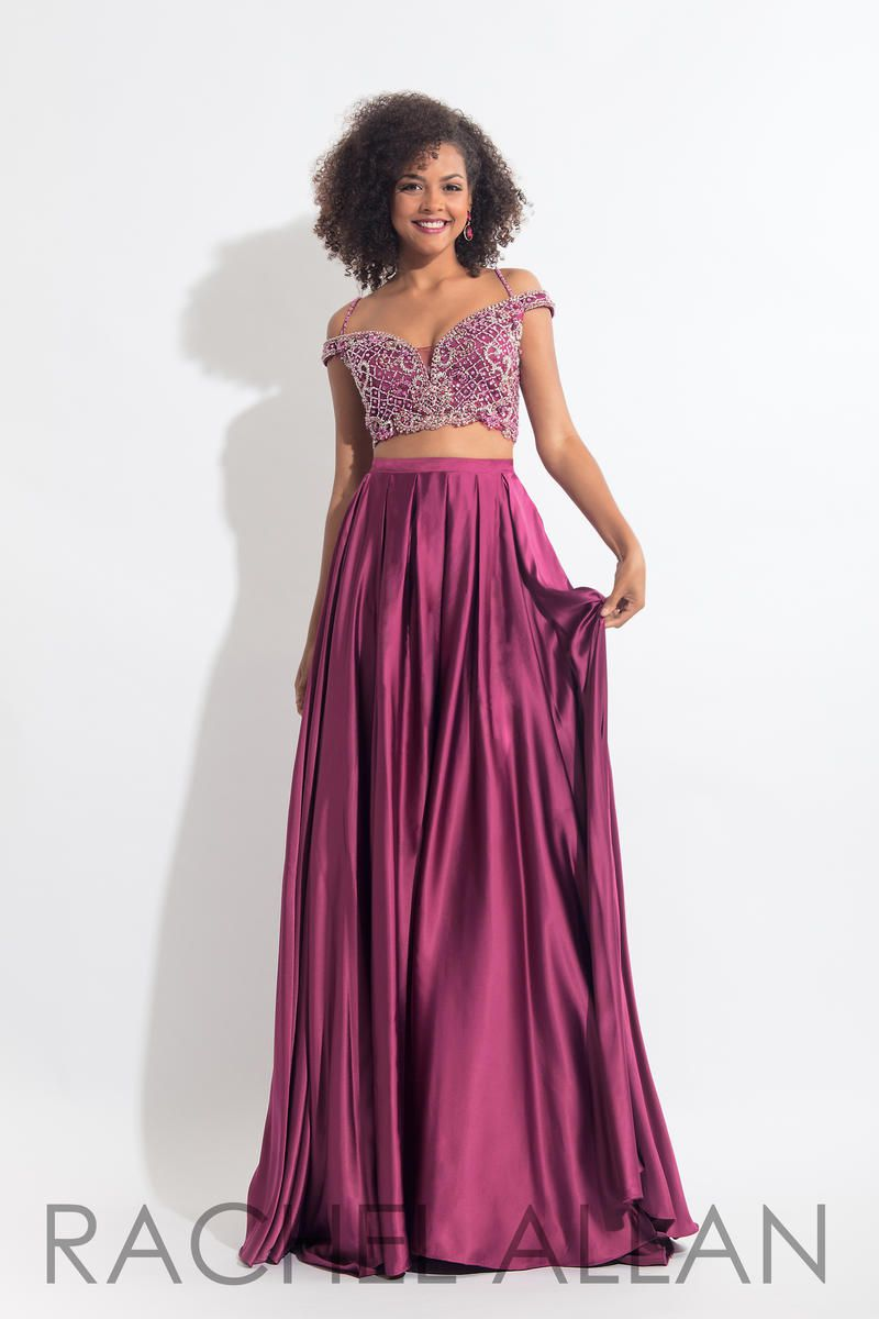 Style 6020 Rachel Allan Pink Size 12 Beaded Top Two Piece Pageant A-line Dress on Queenly