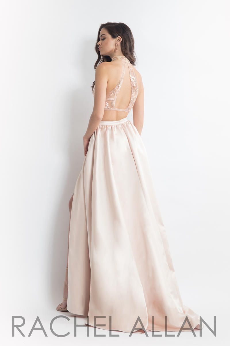 Style 6014 Rachel Allan Gold Size 12 Beaded Top Two Piece Pageant Side slit Dress on Queenly