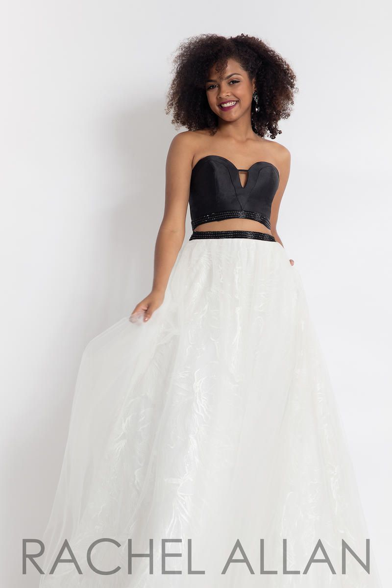 Style 6096 Rachel Allan White Size 8 Silk Two Piece Embroidery Ball gown on Queenly