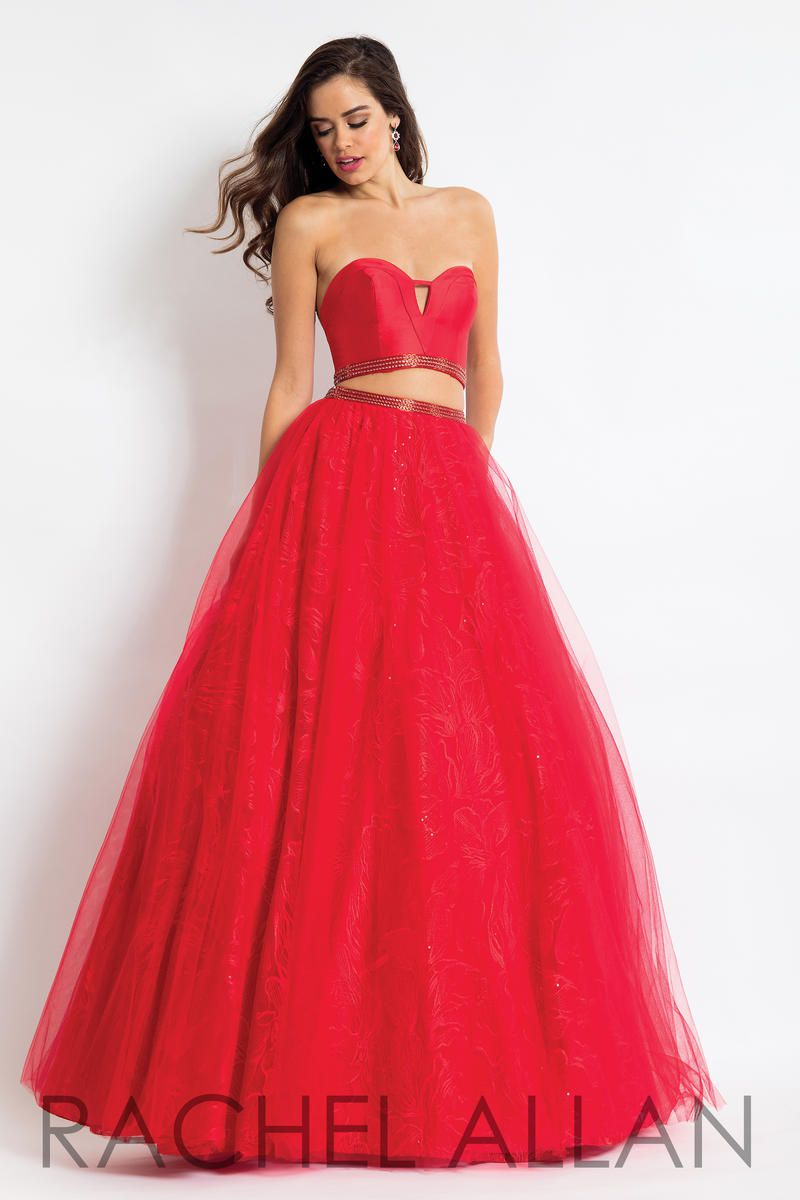 Style 6096 Rachel Allan Red Size 0 Strapless Silk Two Piece Ball gown on Queenly