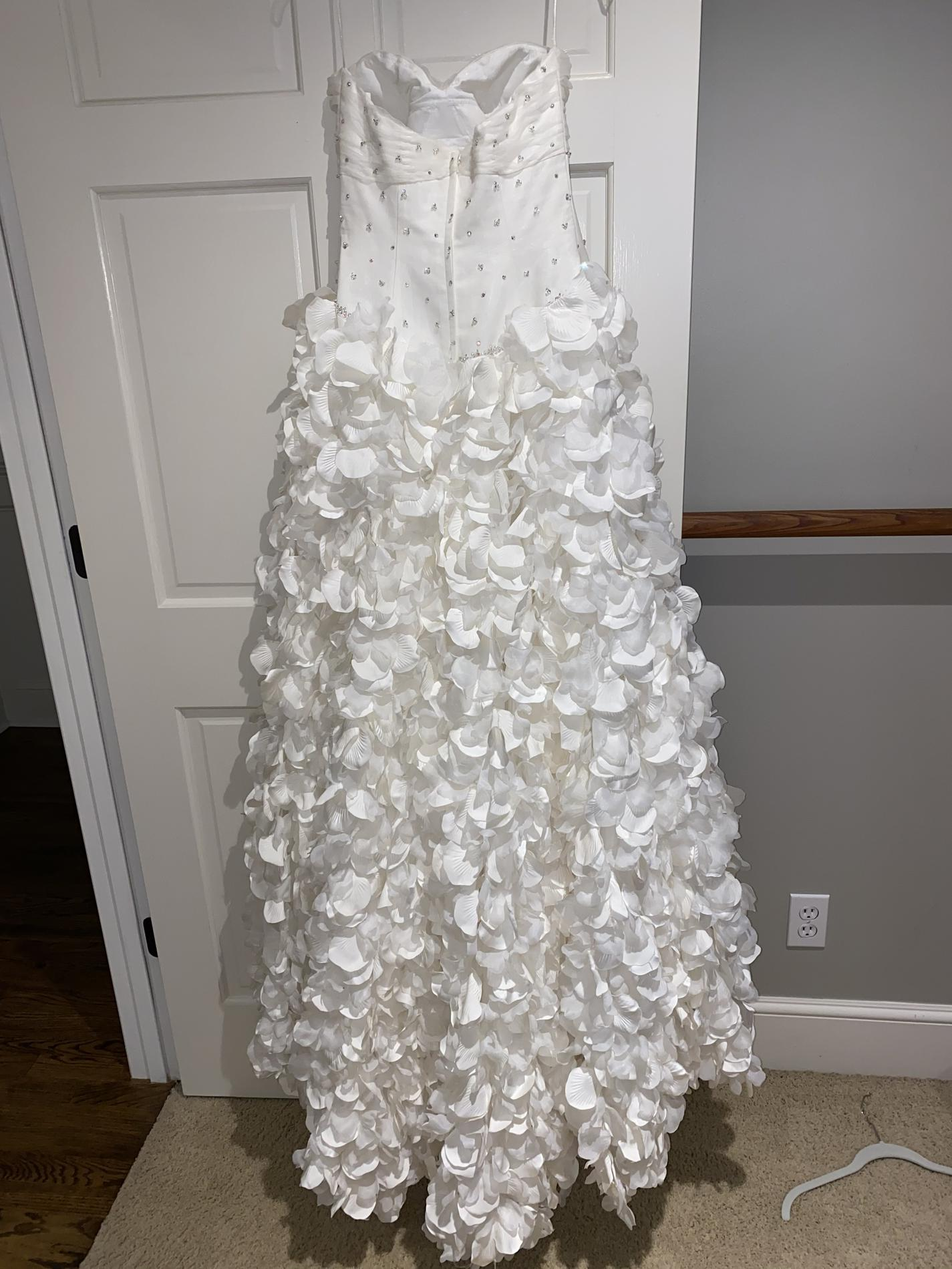 C White Size 2 Ruffles Pageant Wedding A-line Dress on Queenly