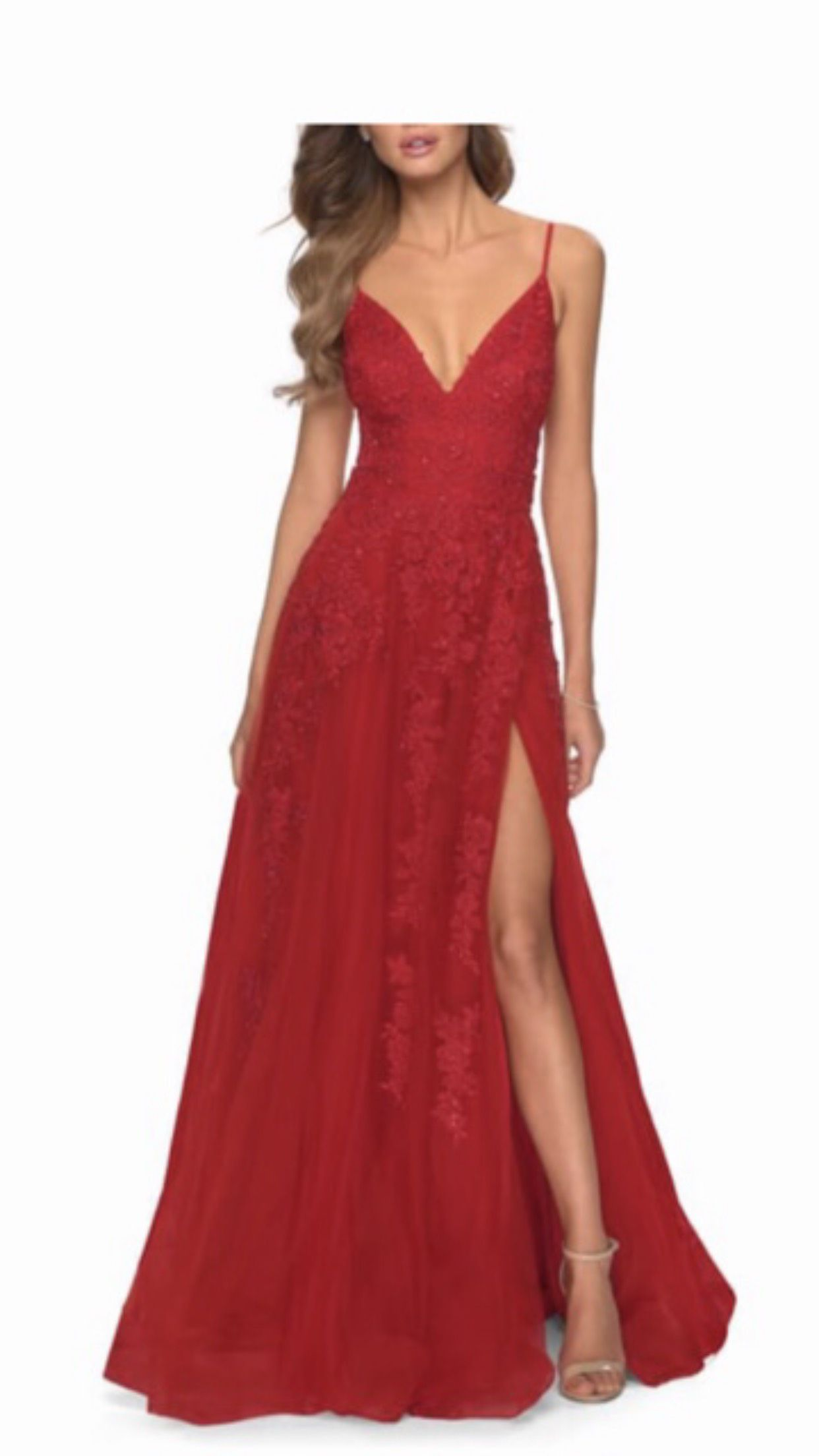 Jovani Red Size 2 Embroidery Pageant Side Slit Ball gown on Queenly