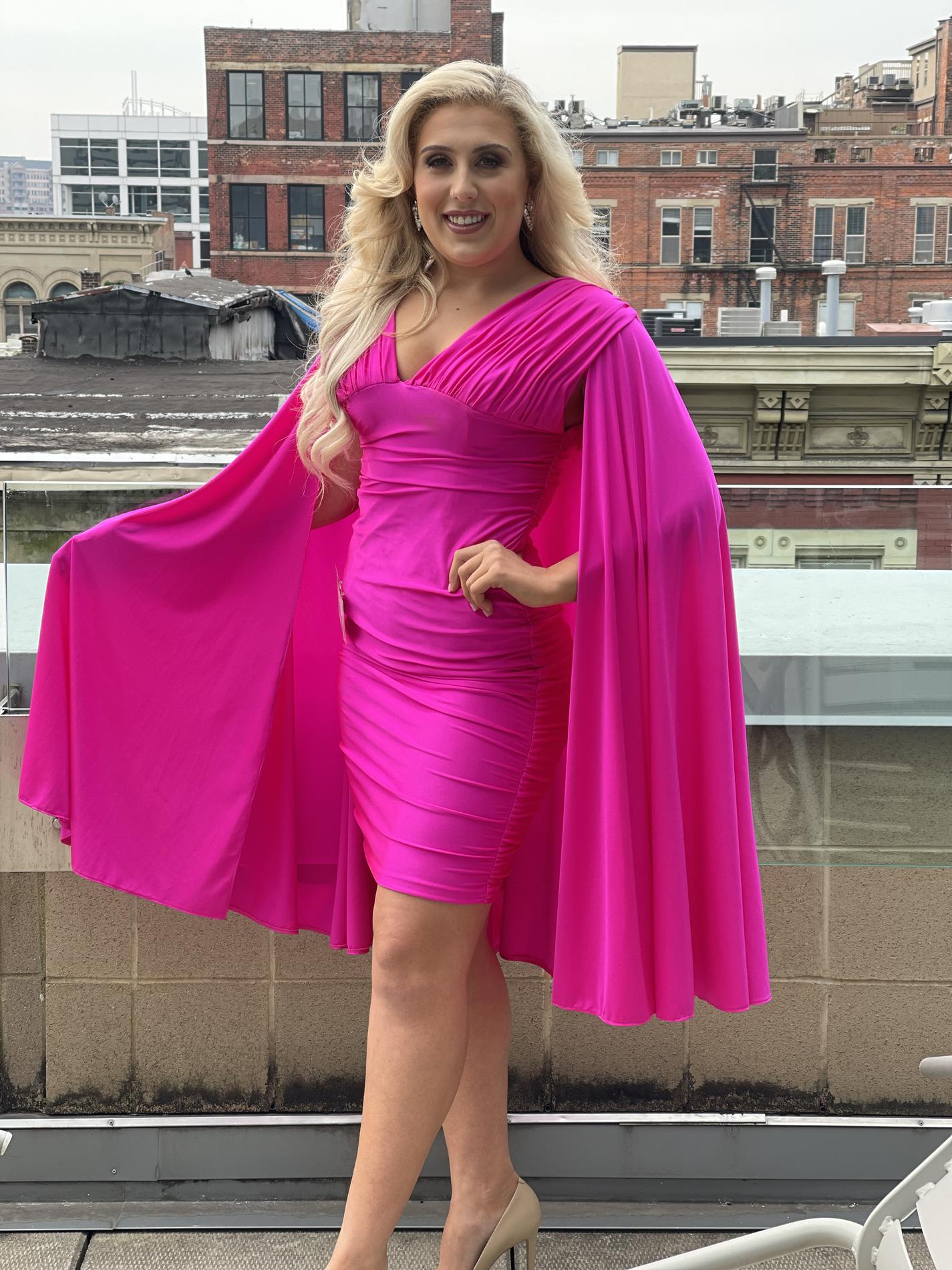 Johnathan Kayne Hot Pink Size 6 Sorority Formal Cape Homecoming Cocktail Dress on Queenly