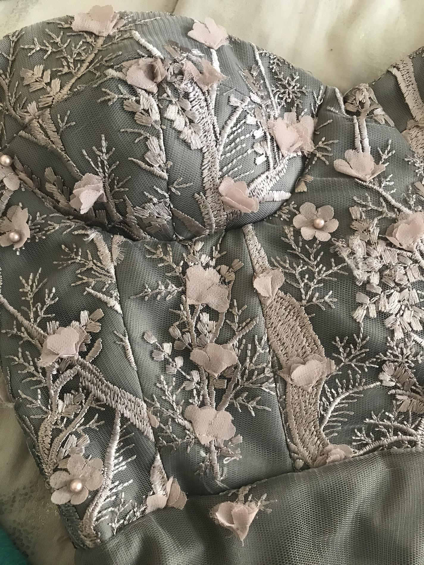 Rene Atelier Silver Size 2 Sorority Formal Floral Embroidery Homecoming Cocktail Dress on Queenly