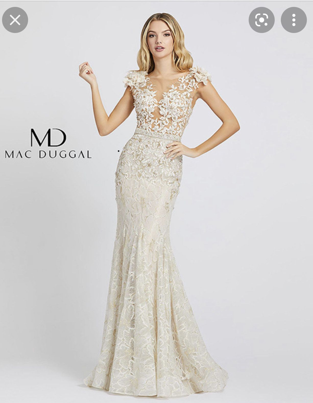 Mac Duggal White Size 6 Floral Embroidery Wedding Mermaid Dress on Queenly
