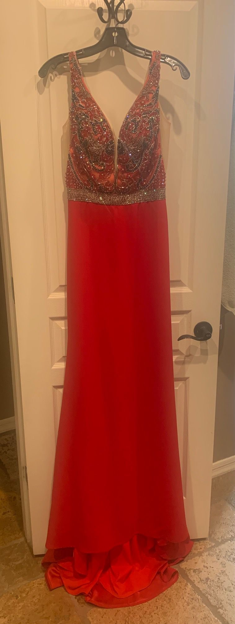 Style 9932 Vienna Prom Red Size 4 Beaded Top Pattern Pageant Mermaid Straight Dress on Queenly