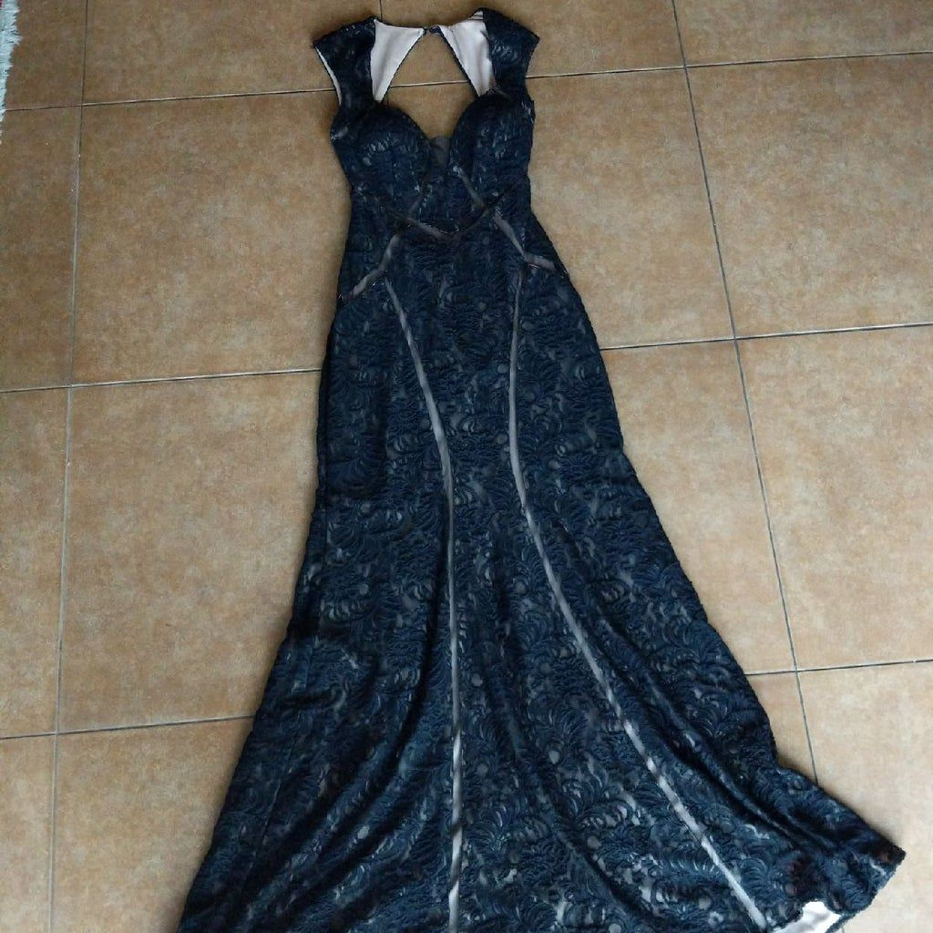 Xscape Black Size 8 Backless Flare Cape Mermaid Dress on Queenly