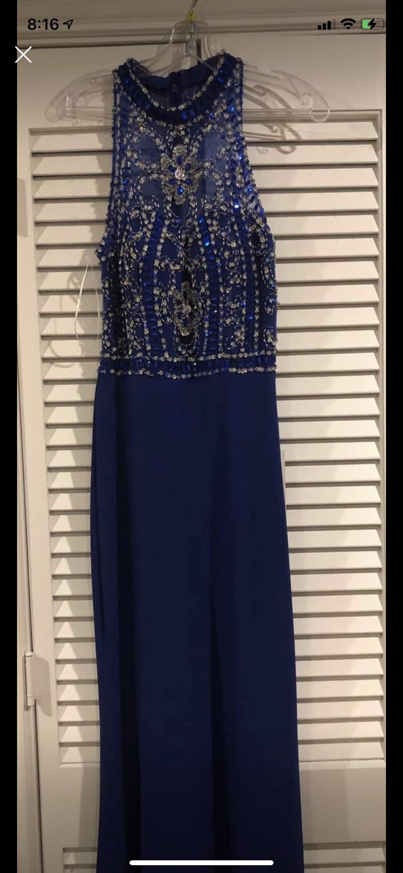 Alyce Paris Blue Size 6 Jersey Navy Straight Dress on Queenly
