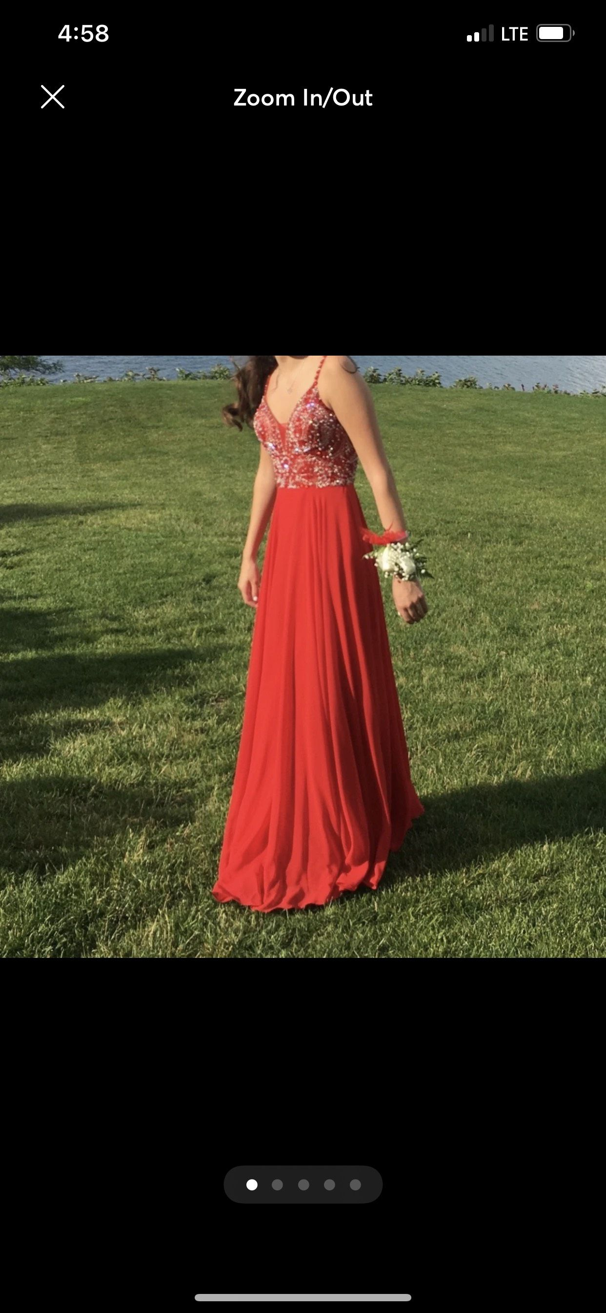 Jovani Red Size 0 Prom Pageant Tulle A-line Dress on Queenly