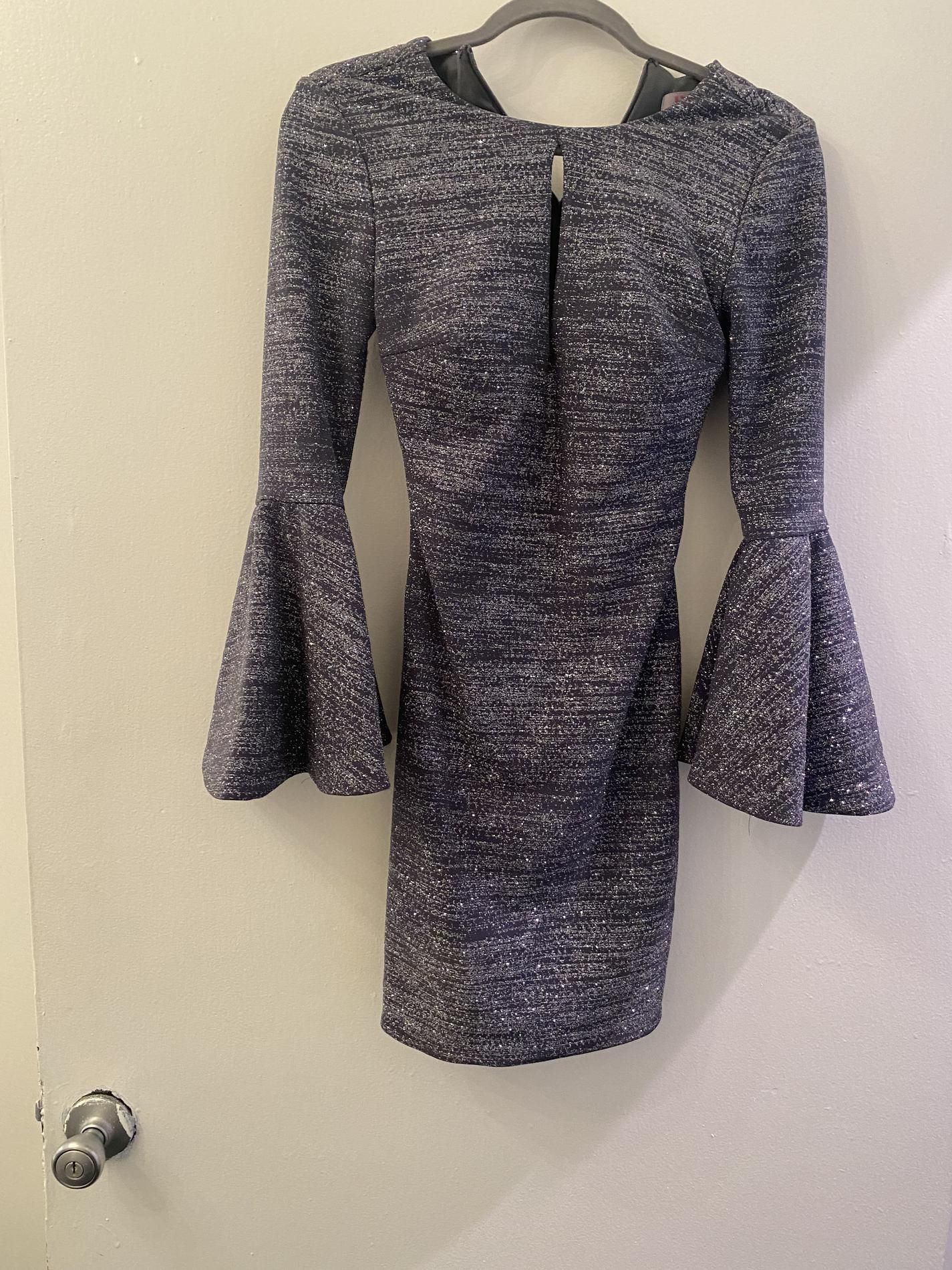 JVN by Jovani Silver Size 0 Bell Sleeves Cocktail Dress on Queenly