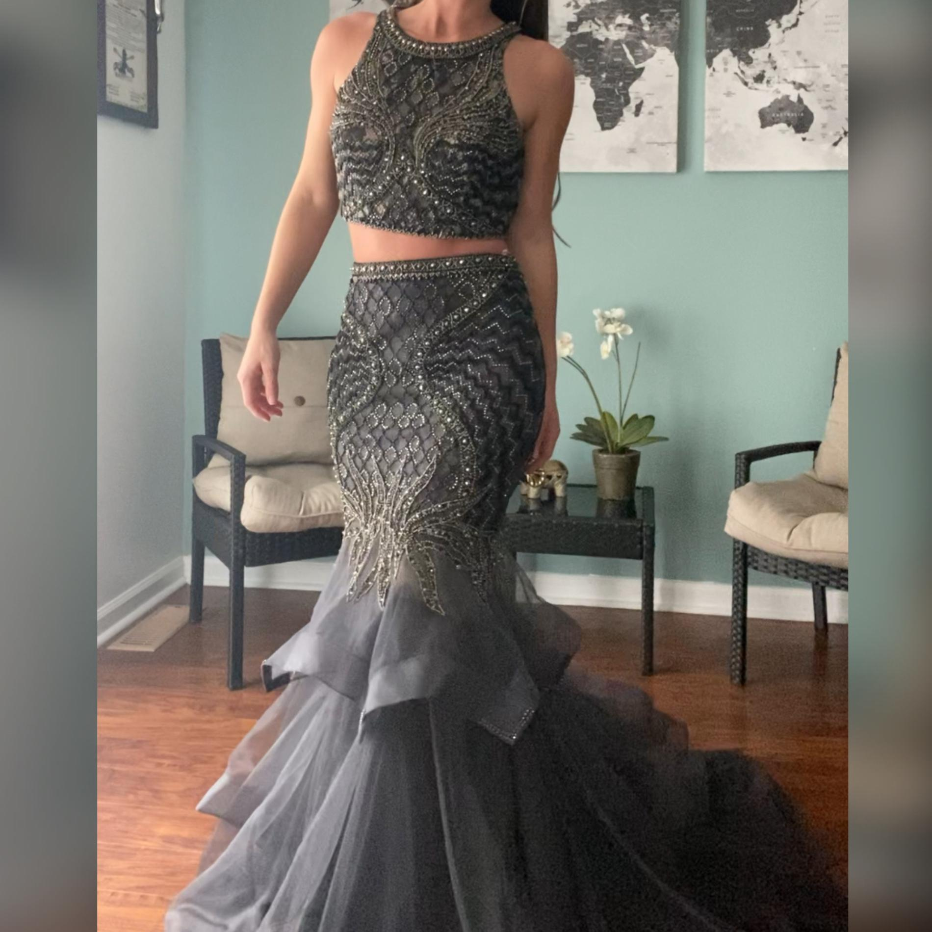 Jovani Silver Size 4 Pageant Tulle Mermaid Dress on Queenly