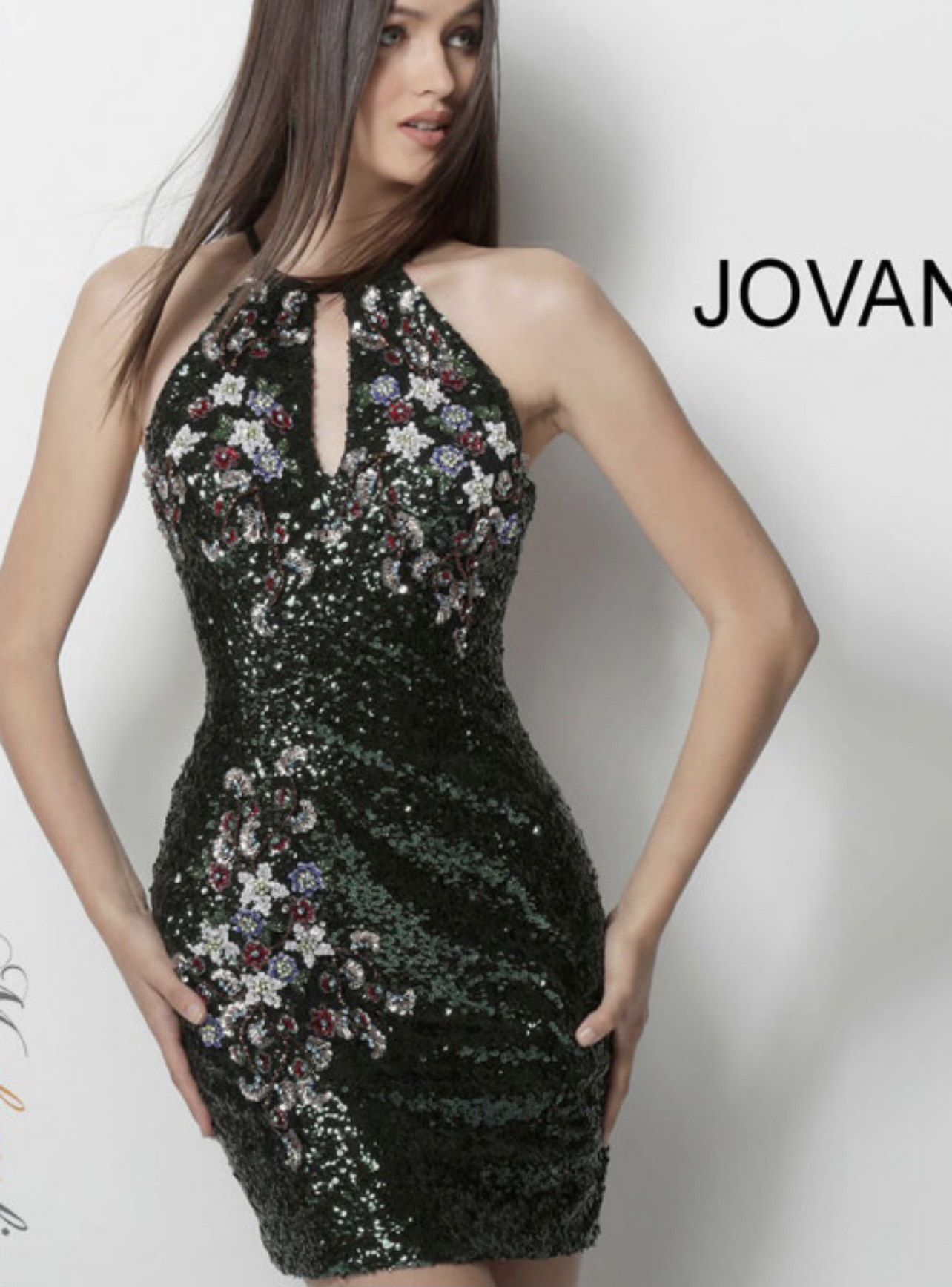 Jovani Multicolor Size 4 Green Cocktail Dress on Queenly