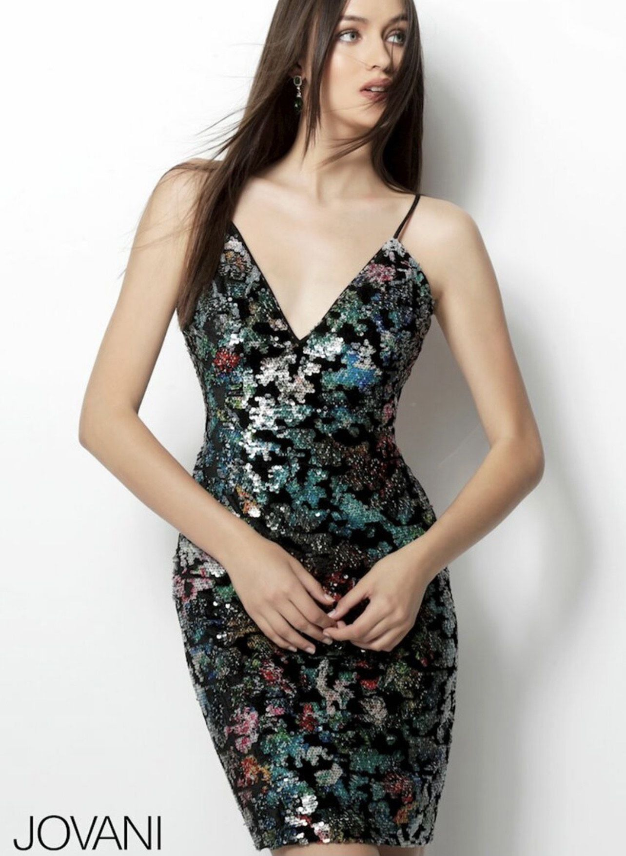 Jovani Multicolor Size 4 Fitted Cocktail Dress on Queenly