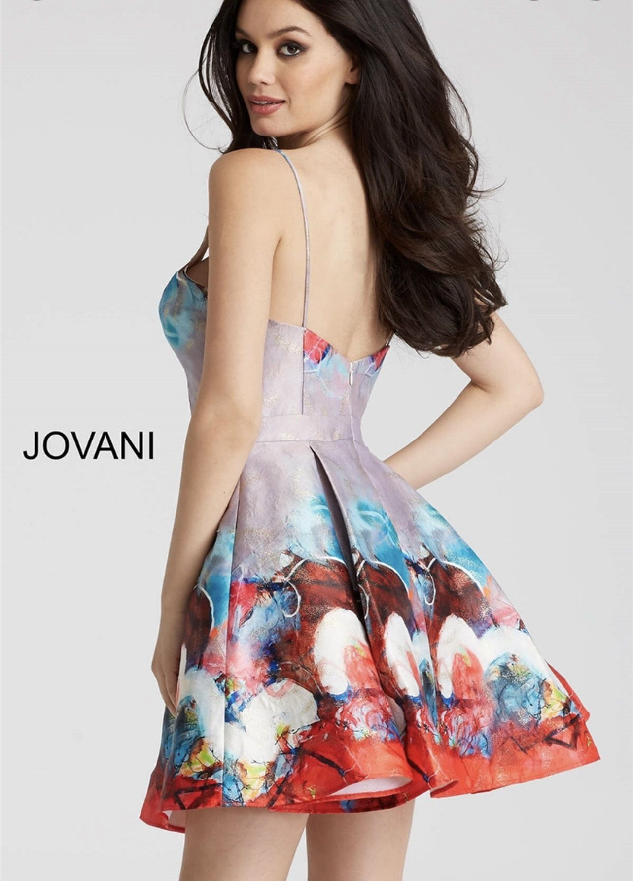 Jovani Multicolor Size 6 A-line Flare Cocktail Dress on Queenly