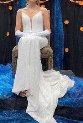 Always & Forever White Size 2 Pageant Sequin Tall Height Train Dress on Queenly