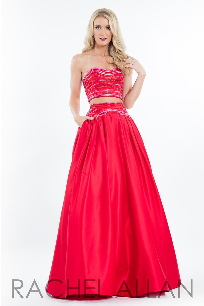 Style 7525 Rachel Allan Red Size 2 Beaded Top Pockets Tall Height Ball gown on Queenly