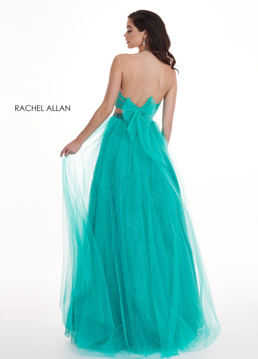 Style 6437 Rachel Allan Green Size 6 Pageant Tall Height Tulle Halter Side slit Dress on Queenly