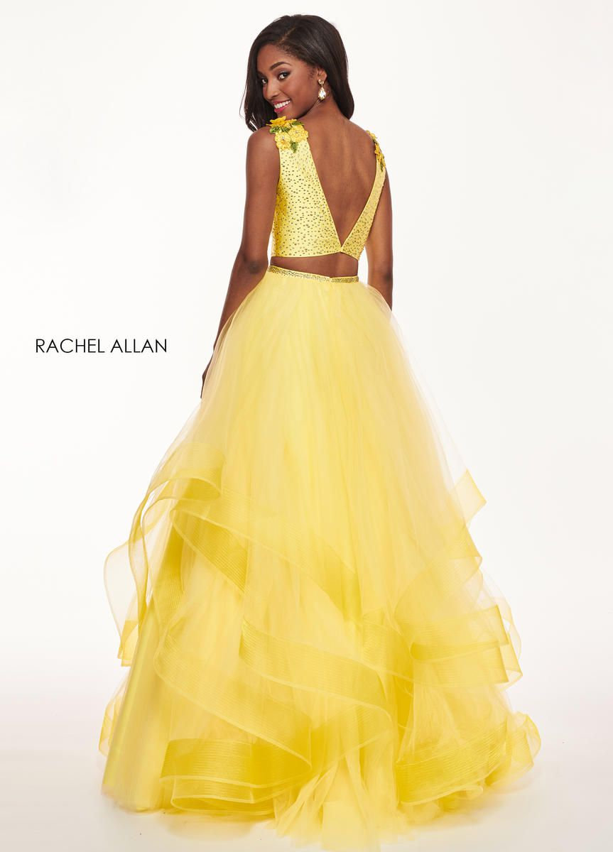 Style 6412 Rachel Allan Yellow Size 6 Beaded Top Ruffles Tall Height Tulle Ball gown on Queenly